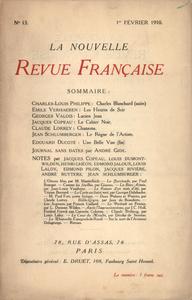 Livre numérique La Nouvelle Revue Française N' 13 (Février 1910)