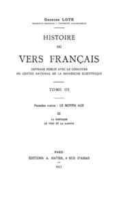 Electronic book Histoire du vers français. Tome III