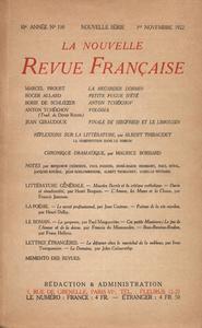 Livre numérique La Nouvelle Revue Française N' 110 (Novembre 1922)