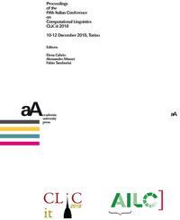 Livre numérique Proceedings of the Fifth Italian Conference on Computational Linguistics CLiC-it 2018