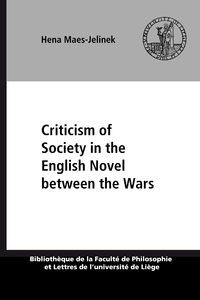 Livre numérique Criticism of Society in the English Novel between the Wars