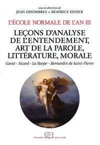 Livre numérique L'École normale de l'an III. Vol. 4, Leçons d'analyse de l'entendement, art de la parole, littérature, morale