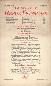Livre numérique La Nouvelle Revue Française N° 248 (Mai 1934)