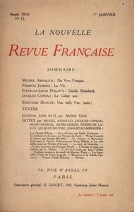 Livre numérique La Nouvelle Revue Française N' 12 (Janvier 1910)